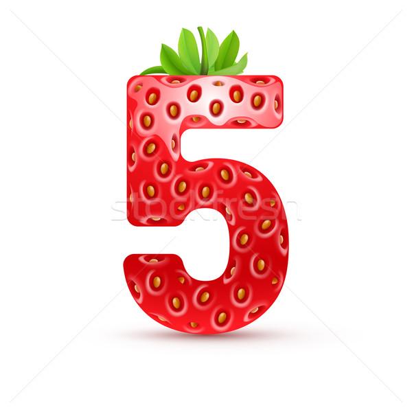 Savoureux nombre nombre cinquième fraise style Photo stock © dvarg