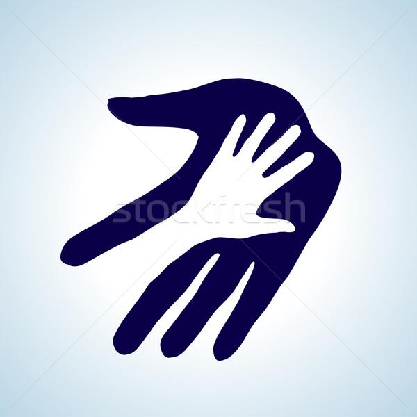 El helping örnek beyaz mavi yardım Stok fotoğraf © dvarg
