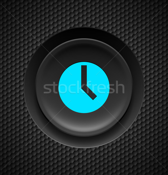 Timer bouton noir bleu signe carbone Photo stock © dvarg