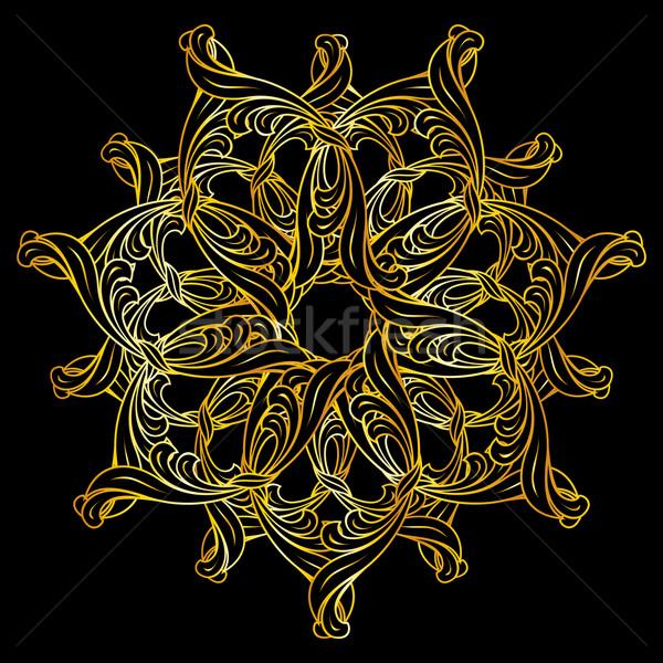 Złoty kwiatowy wzór kolory czarny Zdjęcia stock © dvarg
