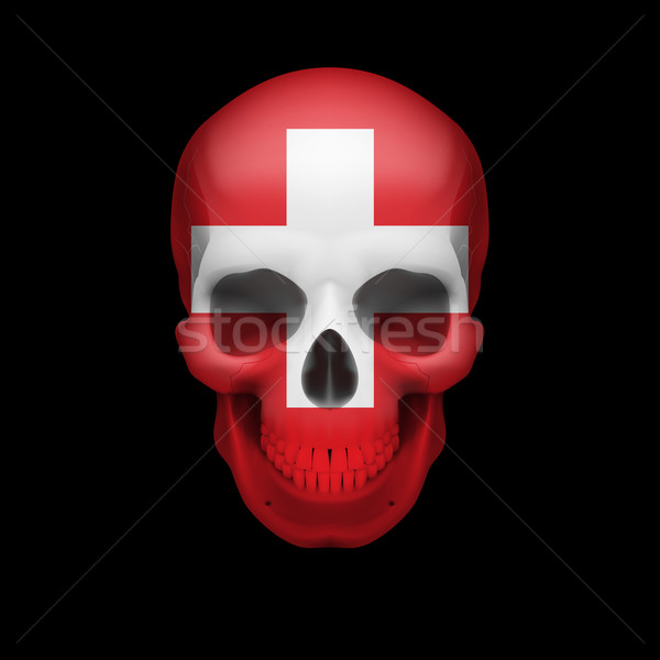 Swiss flag skull Stock photo © dvarg