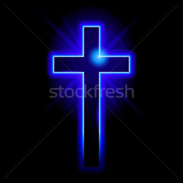 Cristão símbolo crucifixo azul ilustração preto Foto stock © dvarg