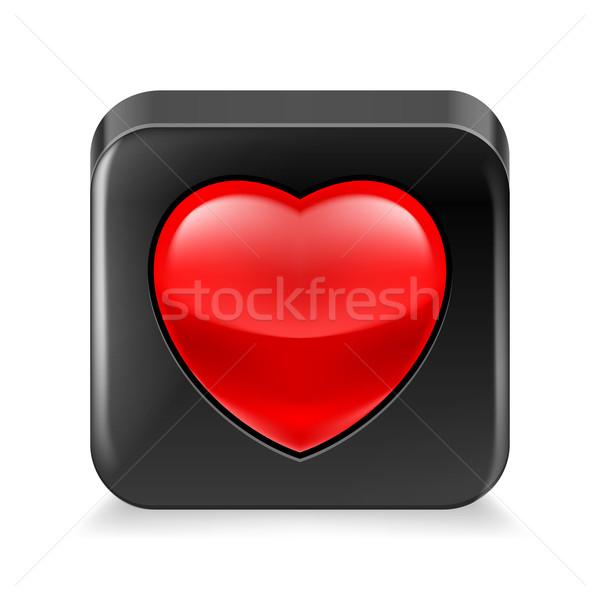 Favori ikon siyah kırmızı kalp beyaz Stok fotoğraf © dvarg