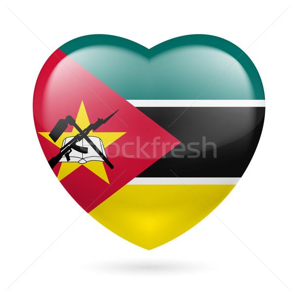 Coração ícone Moçambique bandeira cores amor Foto stock © dvarg