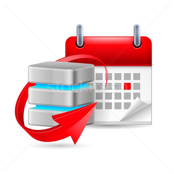 Datenbank Zeichen Kalender aktualisieren Symbol Technologie Stock foto © dvarg
