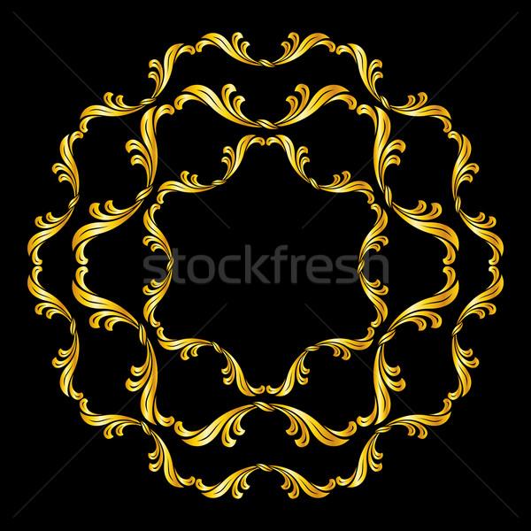 Kwiatowy wzór złoty streszczenie czarny Zdjęcia stock © dvarg