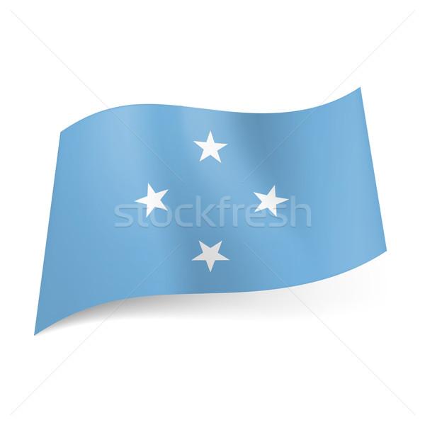 Bandeira Micronésia quatro branco estrelas luz azul Foto stock © dvarg
