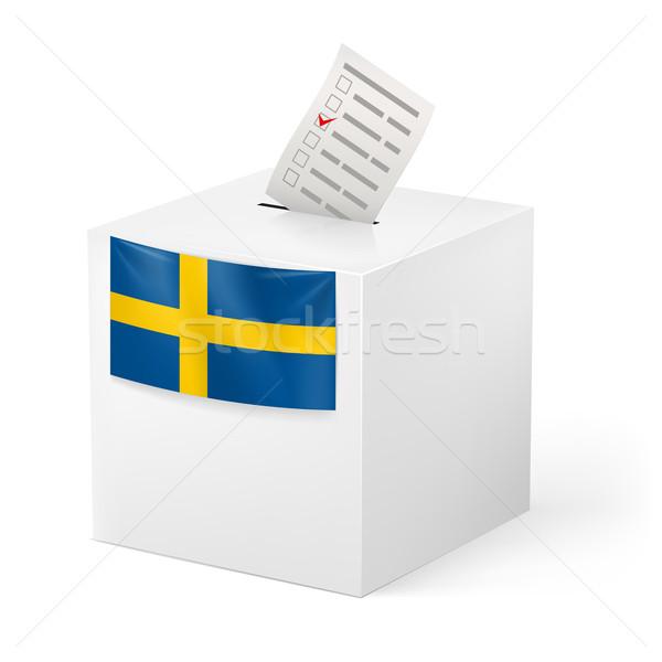 Szavazócédula doboz papír Svédország választás izolált Stock fotó © dvarg