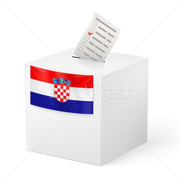 Oylama kutu kâğıt Hırvatistan seçim Stok fotoğraf © dvarg