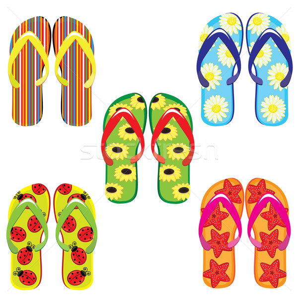 Five pairs of colorful flip flops  Stock photo © dvarg