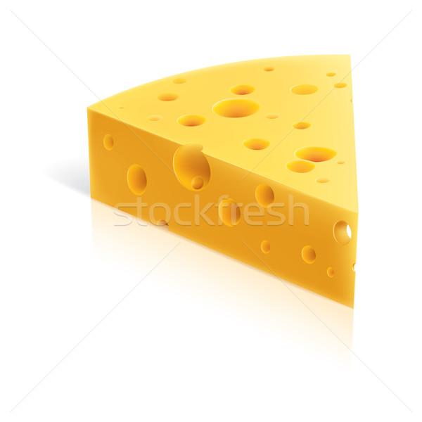 Ser kawałek odizolowany biały żywności pomarańczowy Zdjęcia stock © dvarg