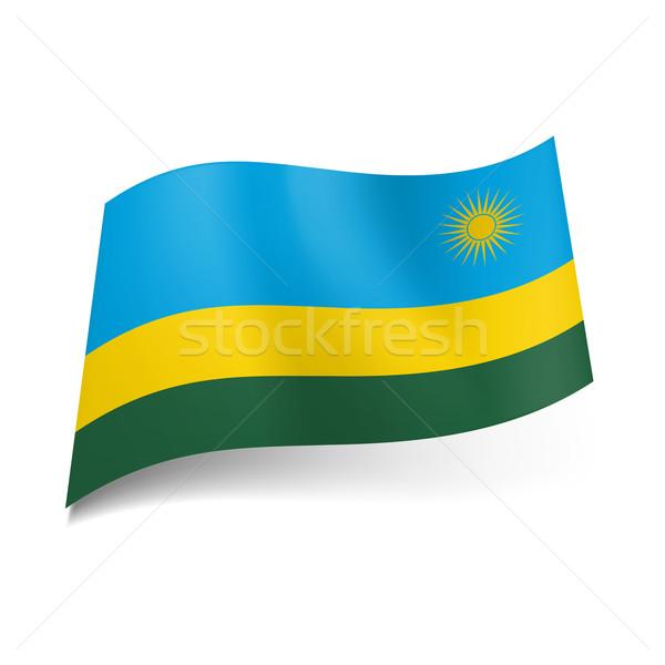 Pavillon Rwanda large bleu étroite jaune Photo stock © dvarg