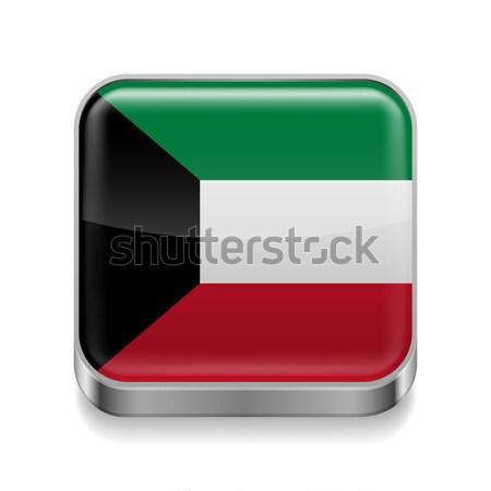 Metal ícone Kuweit praça bandeira cores Foto stock © dvarg