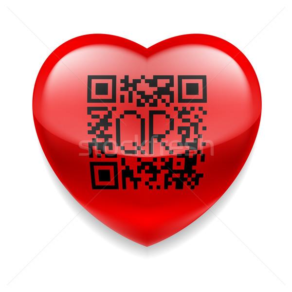 Czerwony serca qr code błyszczący działalności zakupy Zdjęcia stock © dvarg