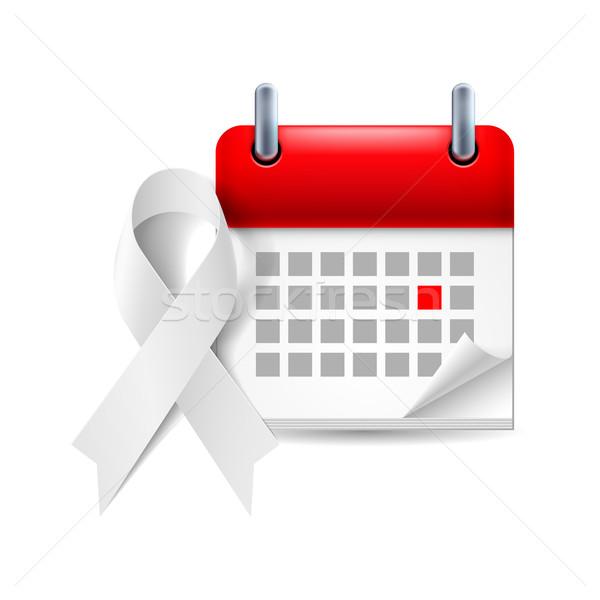 Beyaz farkında olma şerit takvim gün akciğer kanseri Stok fotoğraf © dvarg
