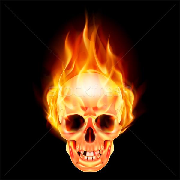 Scary череп огня иллюстрация черный лице Сток-фото © dvarg