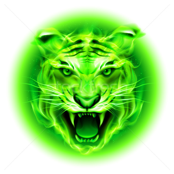 Stock photo: Green fire tiger.