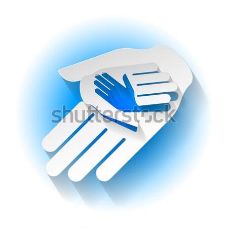 Kâğıt eller üç stil simge yardım Stok fotoğraf © dvarg