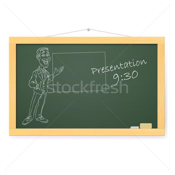 Blackboard man organiseren presentaties illustratie witte Stockfoto © dvarg