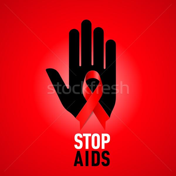 Stop aiuti segno nero mano Foto d'archivio © dvarg