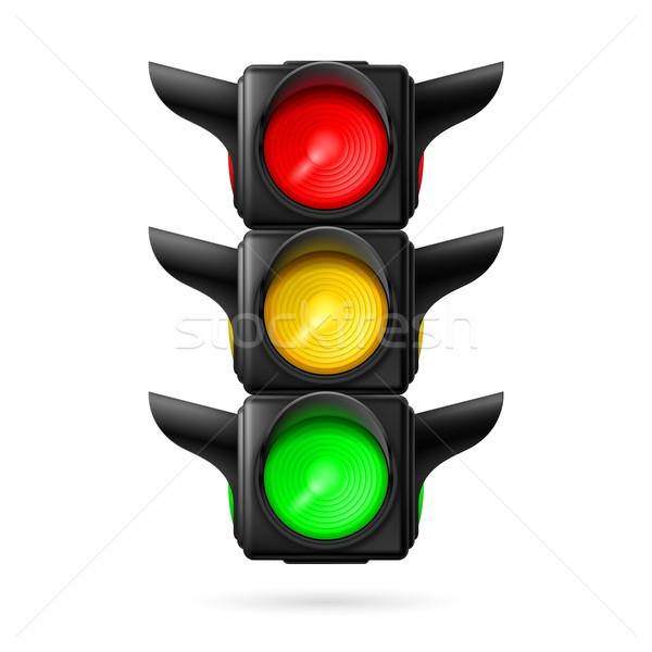 Trafik ışığı gerçekçi trafik ışıkları tüm üç renkler Stok fotoğraf © dvarg