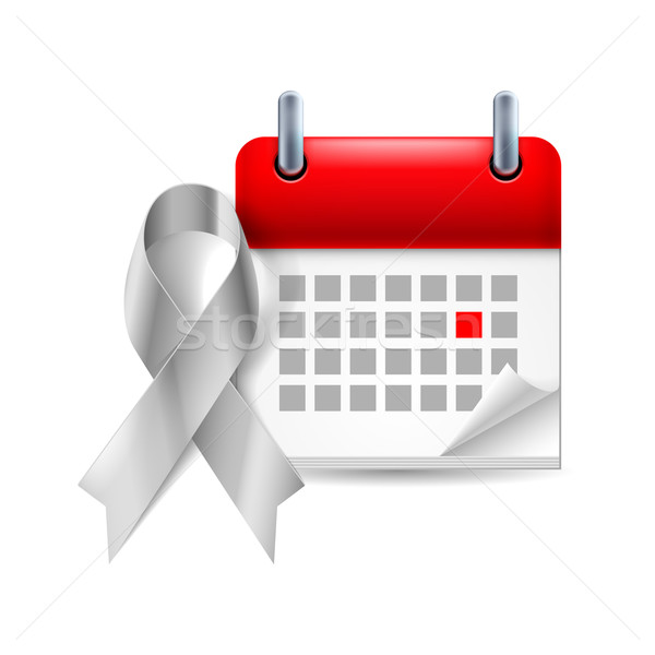 Silver awareness ribbon and calendar Stock photo © dvarg