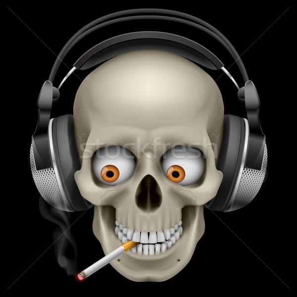 Schädel Kopfhörer Zigarette Illustration schwarz Auge Stock foto © dvarg