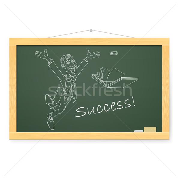 Blackboard man succes illustratie witte kantoor Stockfoto © dvarg