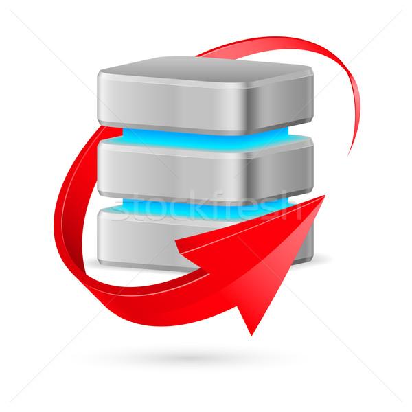 Database icona aggiornare simbolo rosso arrow Foto d'archivio © dvarg