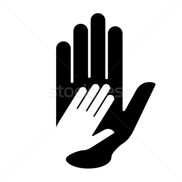 Helpende hand hand handteken helpen hulp samenwerking Stockfoto © dvarg