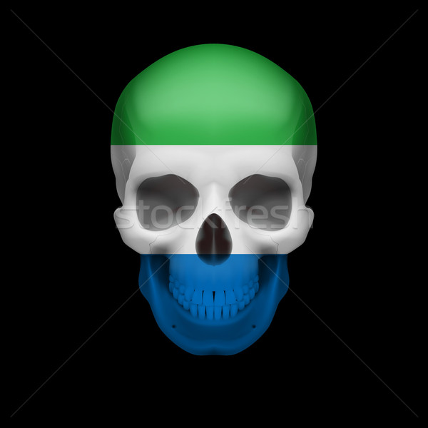 Sierra Leone flag skull Stock photo © dvarg