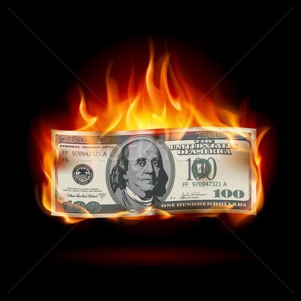 égő dollár fekete terv textúra tűz Stock fotó © dvarg