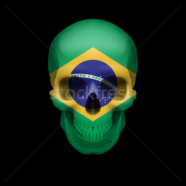 Stock photo: Brazilian flag skull