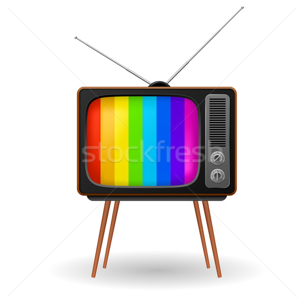 Stock photo: Retro TV with color frame