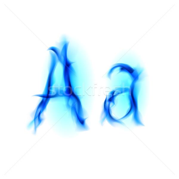 Tüzes betűtípus levél kék illusztráció fekete Stock fotó © dvarg