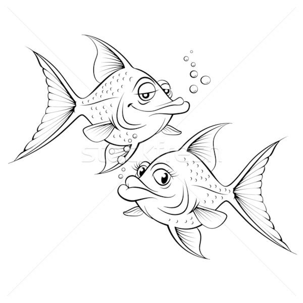 Iki çizim karikatür balık örnek dizayn Stok fotoğraf © dvarg