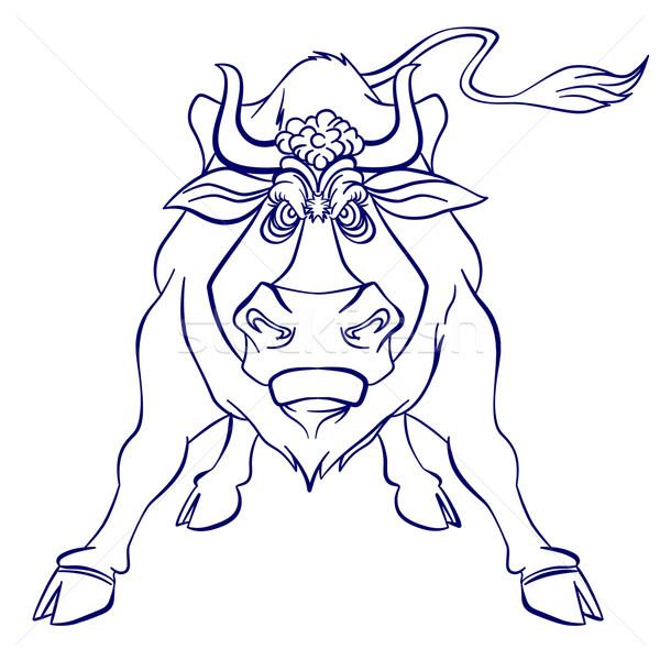 Boos stier silhouet grafische illustratie witte Stockfoto © dvarg
