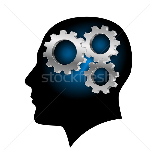 Humans brain with gearwheel inside Stock photo © dvarg