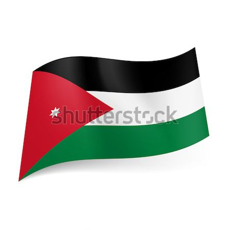 Сток-фото: флаг · Иордания · черно · белые · зеленый · горизонтальный