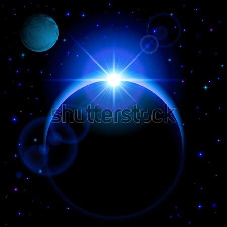 Stock fotó: Sötét · bolygó · fellobbanás · kék · fényes · nyitva