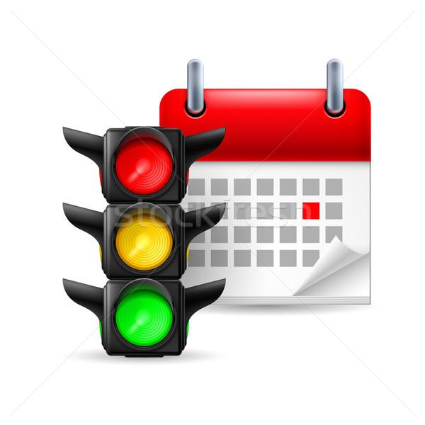 Trafik ışıkları takvim gün beyaz ışık Stok fotoğraf © dvarg