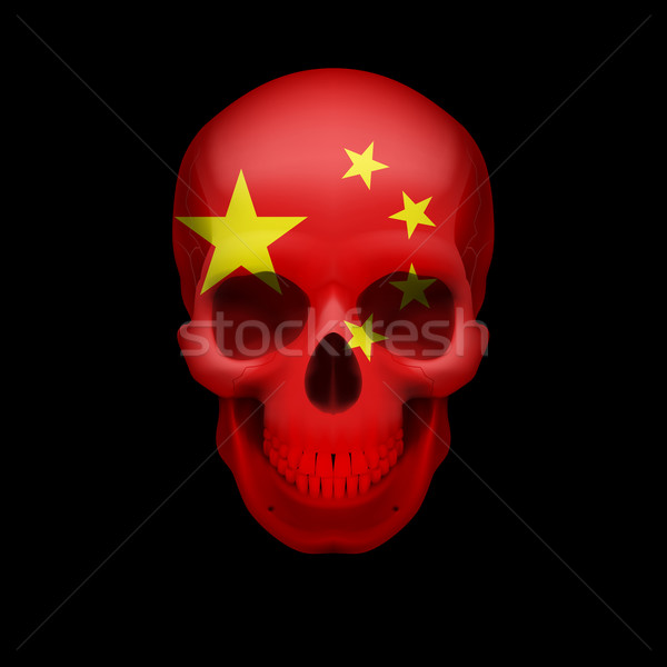 Chinese flag skull Stock photo © dvarg