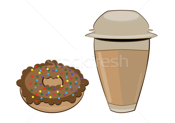 Coffee in a styrofoam cup and donut Stock photo © dvarg