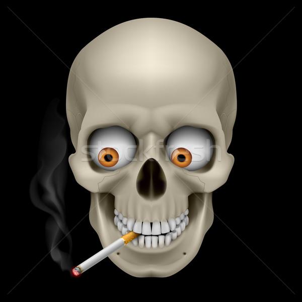 Stok fotoğraf: Insan · kafatası · gözler · sigara · örnek · siyah