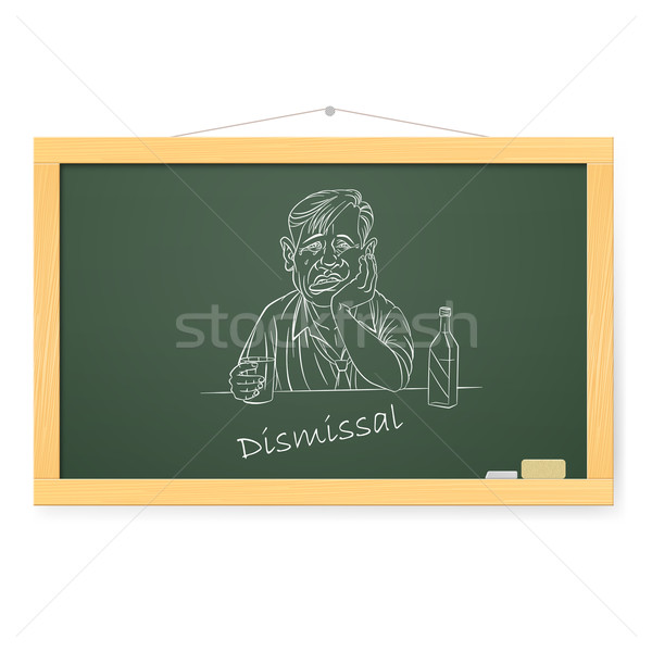 Blackboard triest zakenman fles illustratie witte Stockfoto © dvarg