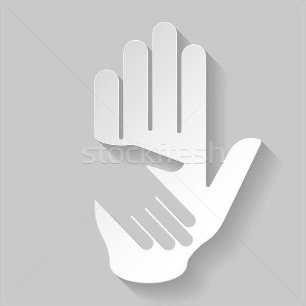 Papier helpende hand hand illustratie stijl helpen Stockfoto © dvarg