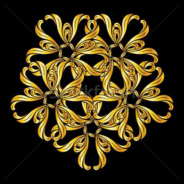 Zdjęcia stock: Kwiatowy · wzór · stylu · złoty · streszczenie · czarny