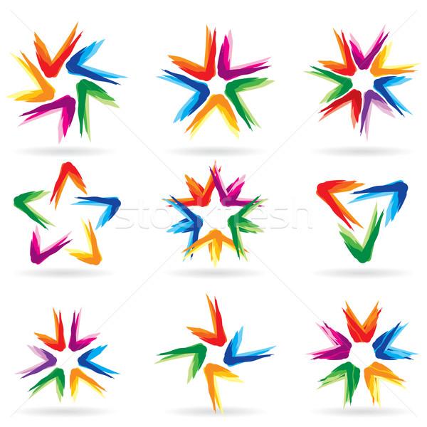 セット 異なる 星 アイコン デザイン 白 ストックフォト © dvarg