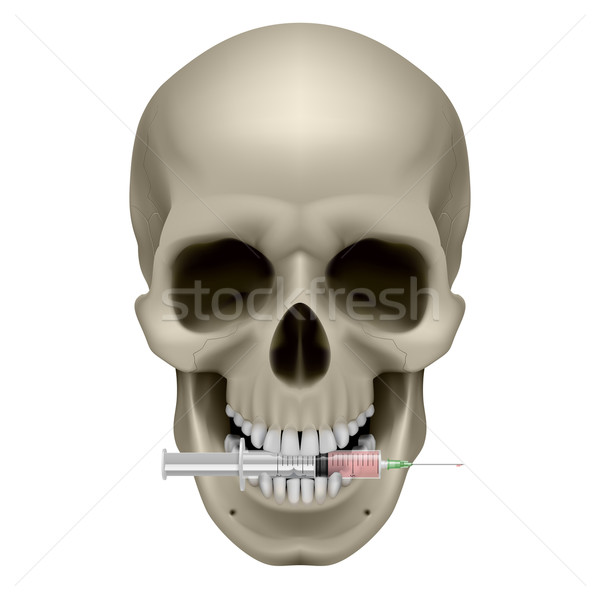 Stock photo: Human skull and syringe