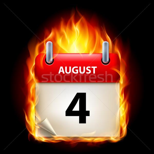 égő naptár negyedik augusztus ikon fekete Stock fotó © dvarg